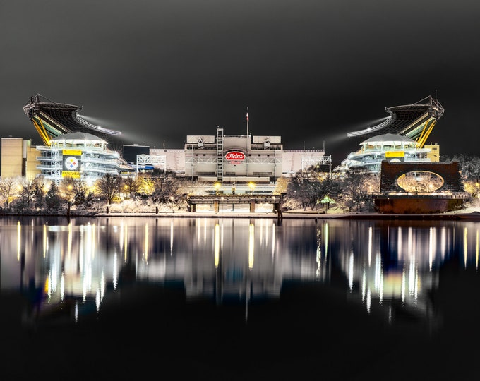 Heinz Field Photograph - Snowy Heinz Field in Black and Gold  - Pittsburgh Photos