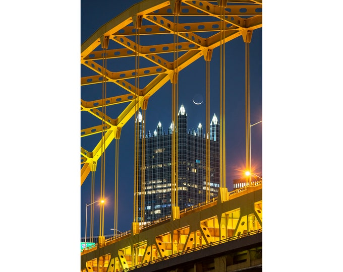 Pittsburgh Photo - PPG Place framed by the Fort Pitt Bridge with the moon - Pittsburgh Art - Pittsburgh Vertical Photo