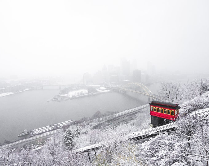 Pittsburgh Skyline Photo - A Pittsburgh Winter Wonderland - Pittsburgh Art - Pittsburgh Incline Picture