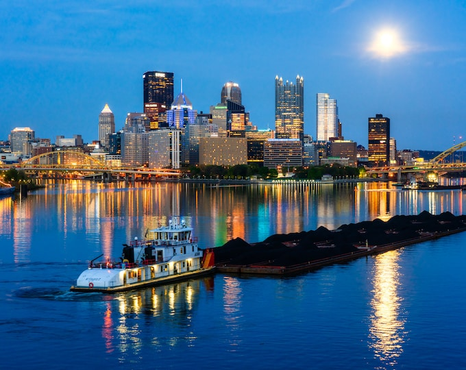 Pittsburgh Photo Print - Moonlit Skies and a Barge on the Ohio River - Pittsburgh Skyline Canvas and Metal Prints