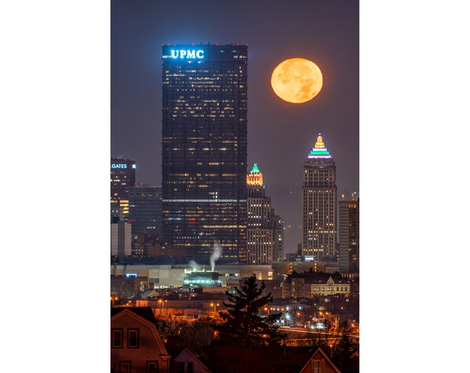 Pittsburgh Skyline Photo - The Moon Sets Near the U.S. Steel Tower and Gulf Tower - Pittsburgh Art