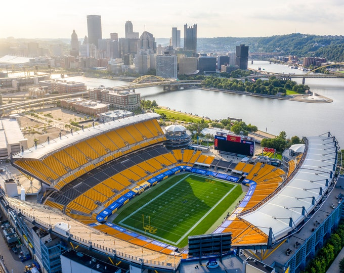 Photo of Heinz Field with the Pittsburgh Skyline - Pitt Panthers Football