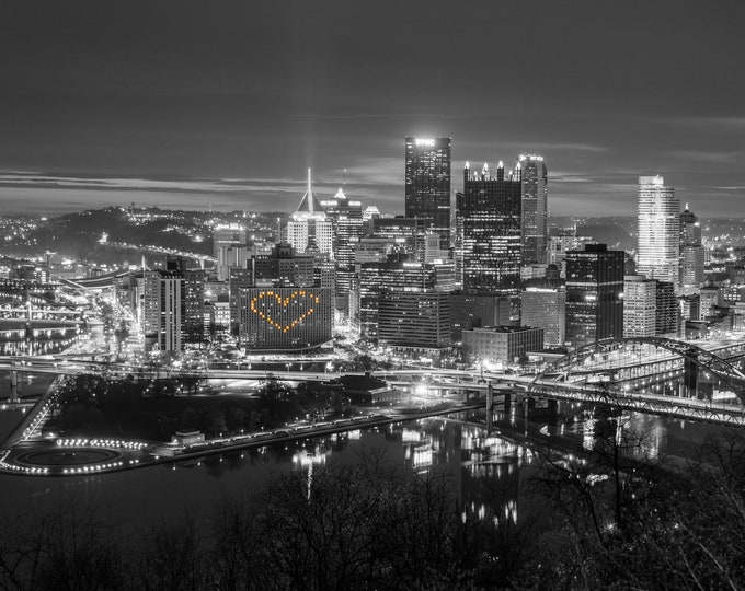 Pittsburgh Skyline Photograph - Pittsburgh Hearts Black and White