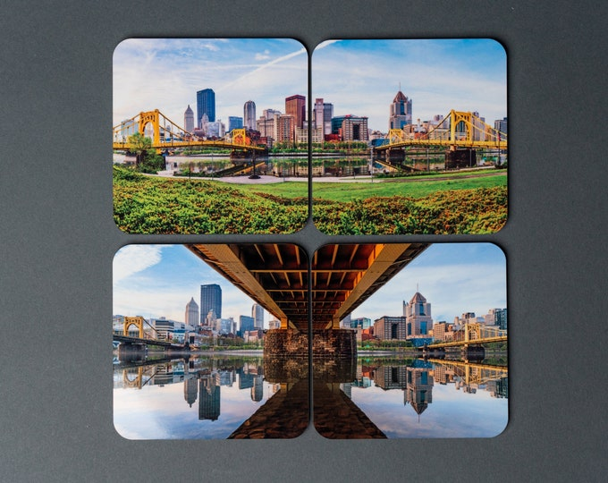 Pittsburgh Drink Coasters - North Shore Panorama Set - Set of 4