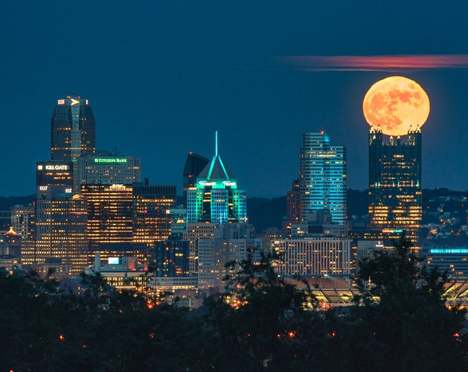 Pittsburgh Photo - Full Moon Rests on PPG Place - Pittsburgh Metal Prints - Pittsburgh Canvas Prints
