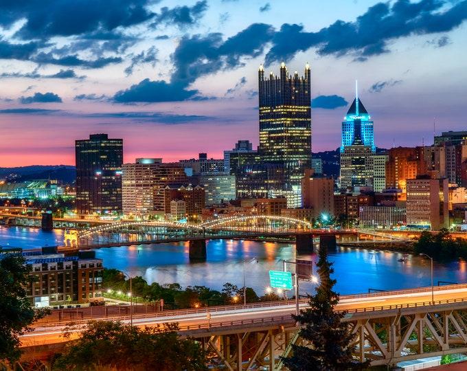 Pittsburgh Skyline Sunset Photo - Pittsburgh Art, Pittsburgh Wall Art, Pittsburgh Decor