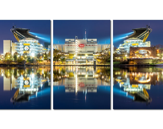 Heinz Field Triptych Photo - Heinz Field Reflects in the Allegheny River