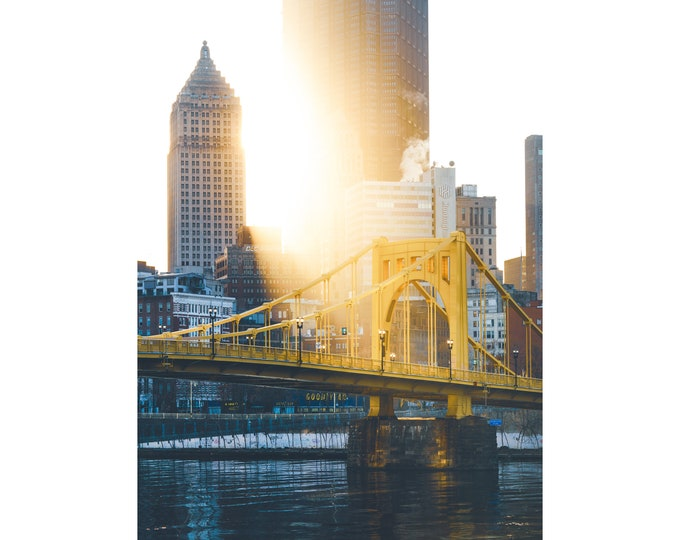 Pittsburgh Photo - Golden Light Cast on the Andy Warhol Bridge - Pittsburgh Wall Art