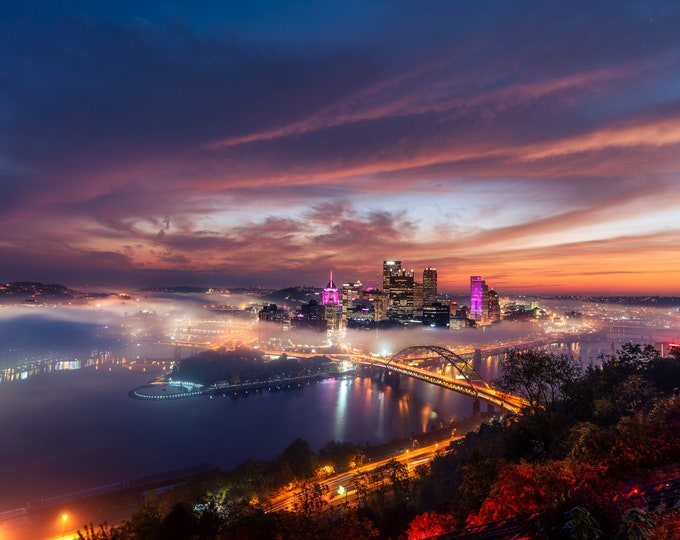 Pittsburgh Photo - Sunrise Halo Over Pittsburgh - Pittsburgh Art - Pittsburgh Print