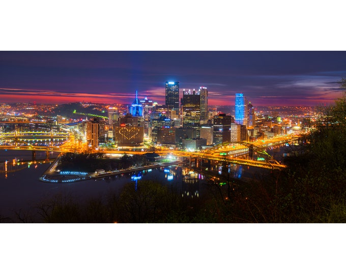 Pittsburgh Skyline with Vibrant Color on the Horizon