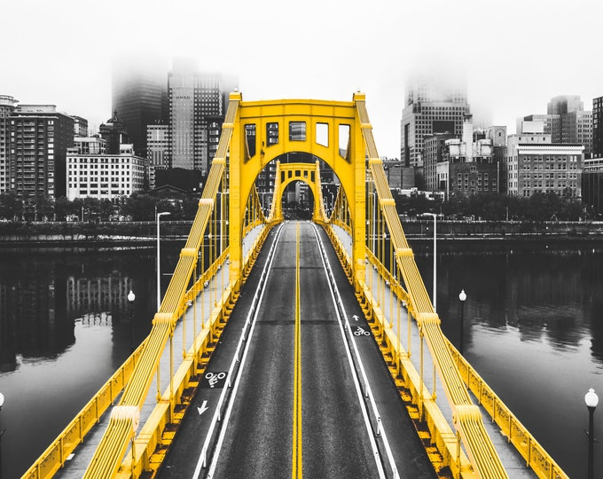 Clemente Bridge on a Foggy Day in Pittsburgh