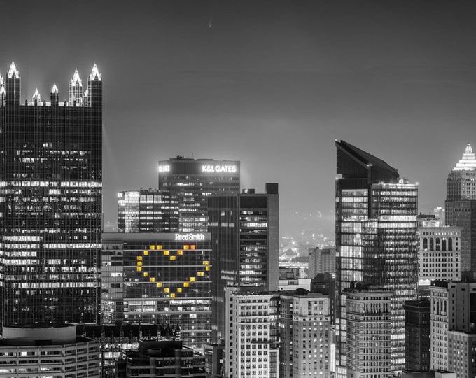 Pittsburgh Photo - Heart with PPG Place and Comet NEOWISE