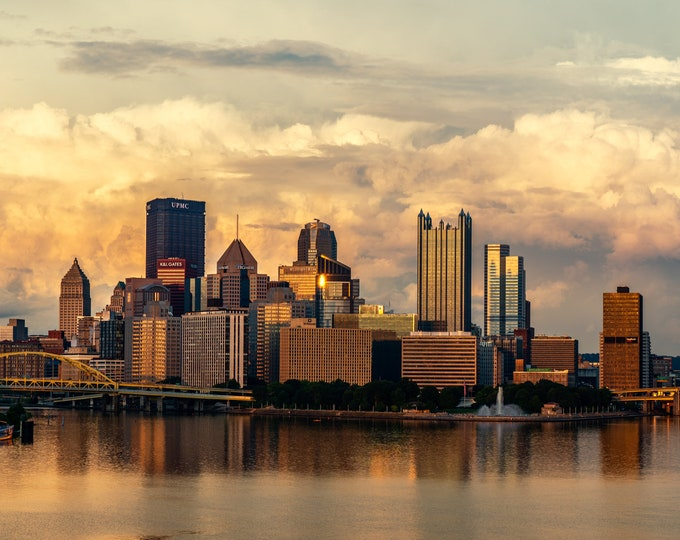 Pittsburgh Photograph - Massive Thunderstorm Cloud Structure Behind the City - Pittsburgh Metal Prints - Pittsburgh Canvas Prints