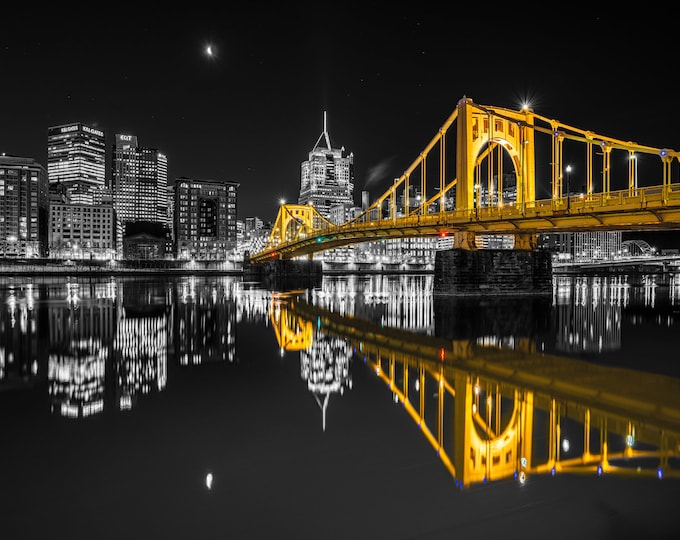 Photo of the Pittsburgh Skyline with Reflections (Selective Color Version)