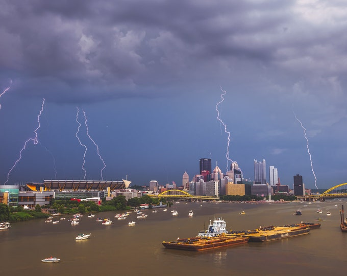 Pittsburgh Photo - Lighting Strikes All Over the City - Pittsburgh Metal Prints - Pittsburgh Wall Art