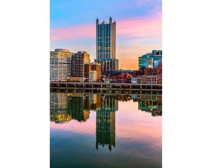 Pittsburgh PPG Place Photo - PPG Place Reflection in the Mon River - Pittsburgh Metal Prints - Pittsburgh Photography