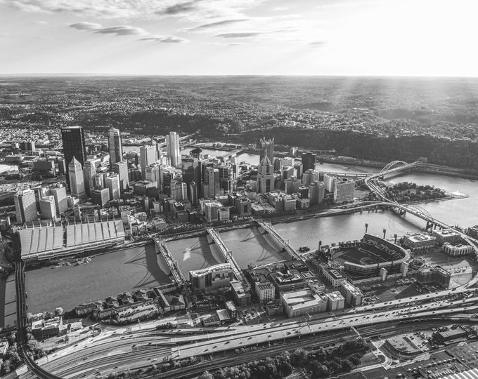 Aerial Photo of Pittsburgh in Black and White