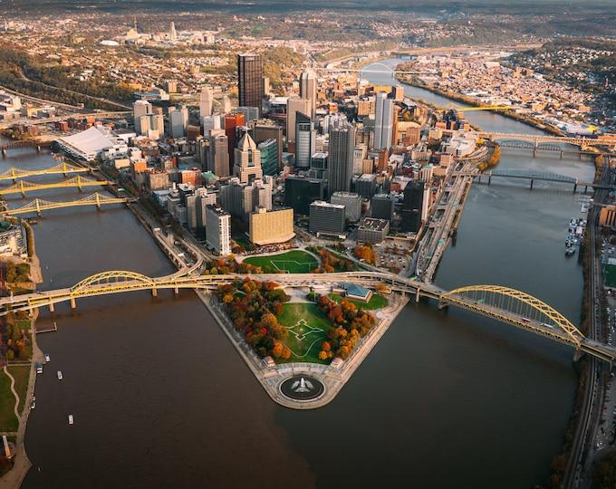 Pittsburgh Skyline Aerial Photo - An Autumn Day in Pittsburgh from Above - Pittsburgh Metal Prints - Pittsburgh Canvas Prints