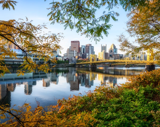Pittsburgh Photo - Autumn Colors Frame the Pittsburgh Skyline - Pittsburgh Photo Print - Pittsburgh Art
