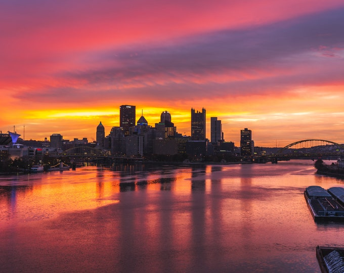 Pittsburgh with a Great Vibrant Sunrise