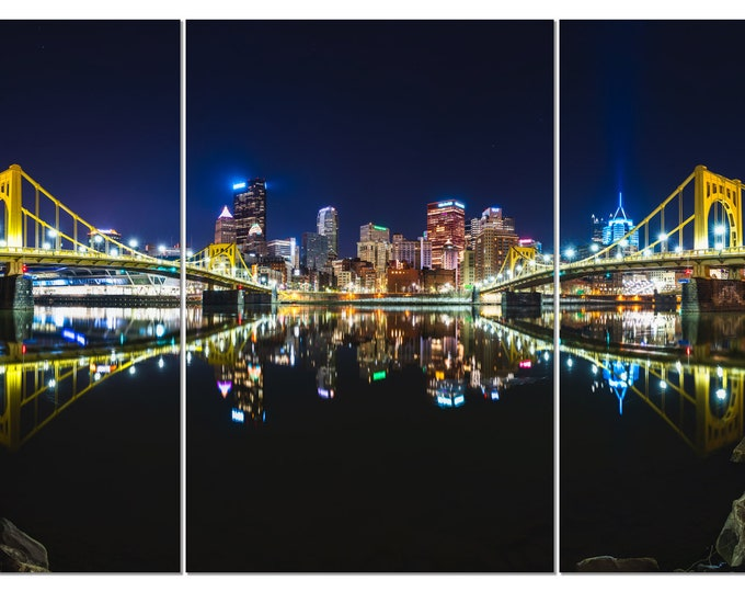 Pittsburgh Skyline Triptych Photo - Pittsburgh Reflects in the Allegheny River