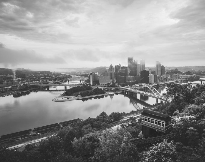 Pittsburgh Incline Photo - Black and White Pittsburgh Photo - Pittsburgh Wall Art - Pittsburgh Skyline Picture