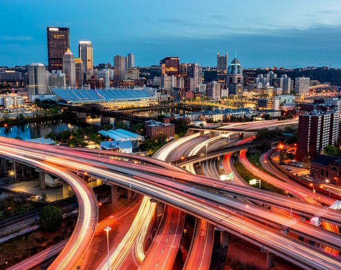 Pittsburgh Photo Print - Traffic Trails Around the Pittsburgh Skyline - Pittsburgh Canvas and Metal Prints