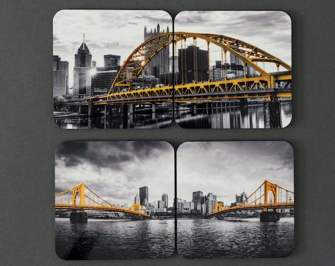 Beer and Drink Coasters Pittsburgh Bridge Fireworks Photo Coasters Set of 1 Coaster