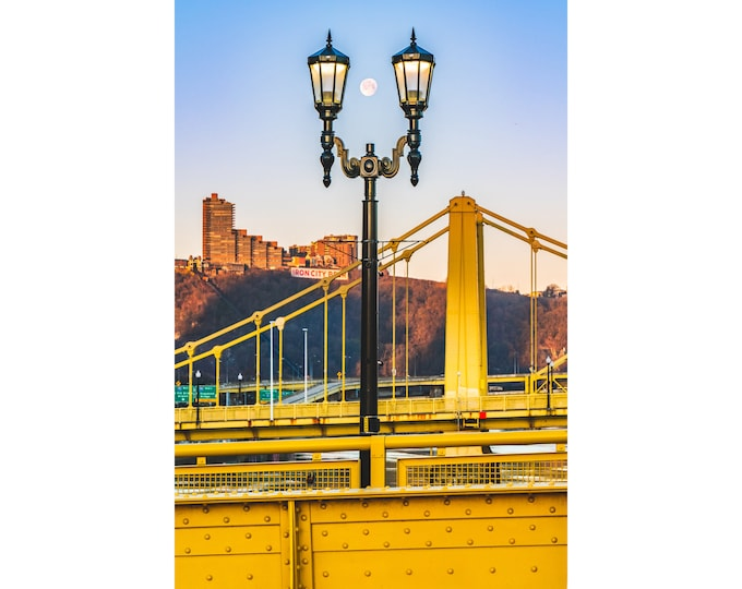 Pittsburgh Photo - The Moon Framed in a Lamp Post on the Warhol Bridge - Pittsburgh Metal Prints - Pittsburgh Photography