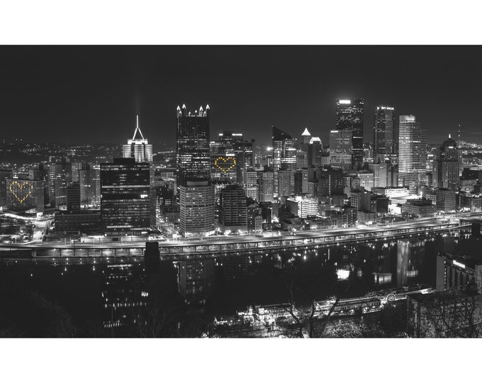 Pittsburgh Photo Print - Panorama Hearts Black and White