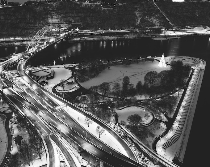 Pittsburgh Aerial Photo - Snow Covered Point State Park - Pittsburgh Art - Pittsburgh Black and White Photo