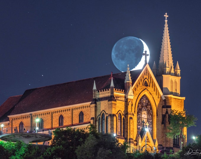 St. Mary of the Mount Moonset Photo - Pittsburgh Photo - Pittsburgh Church Picture