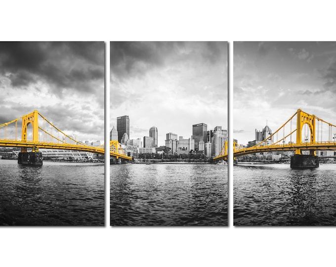 Pittsburgh Bridges Selective Color Photo (Triptych Version)