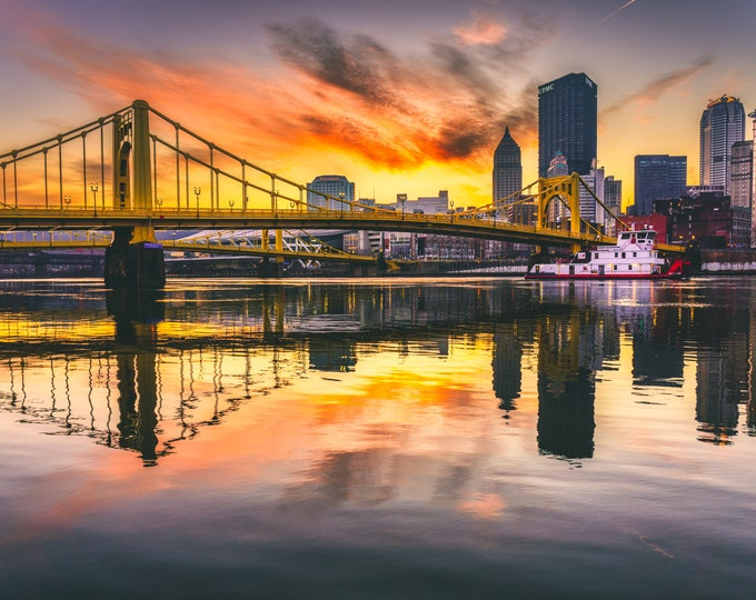 Pittsburgh Photo - Sunrise Over the Allegheny with Tow Boat - Pittsburgh Art - Pittsburgh Photos