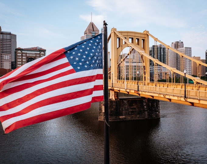 Pittsburgh Photo - The American Flag and the Clemente Bridge - Pittsburgh Metal Prints - Pittsburgh Wall Art