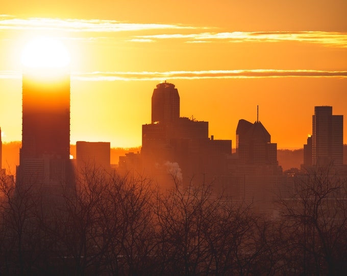 Pittsburgh Skyline Photo - A Golden Pittsburgh Skyline - Sunrise Photo - Pittsburgh Art