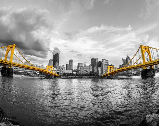 Photo of the Pittsburgh Skyline with Carson and Warhol Bridges in Selective Color