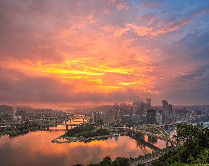 Pittsburgh Photo Print - Pittsburgh Foggy Sunrise - Pittsburgh Skyline Photo Print - Pittsburgh Metal Print
