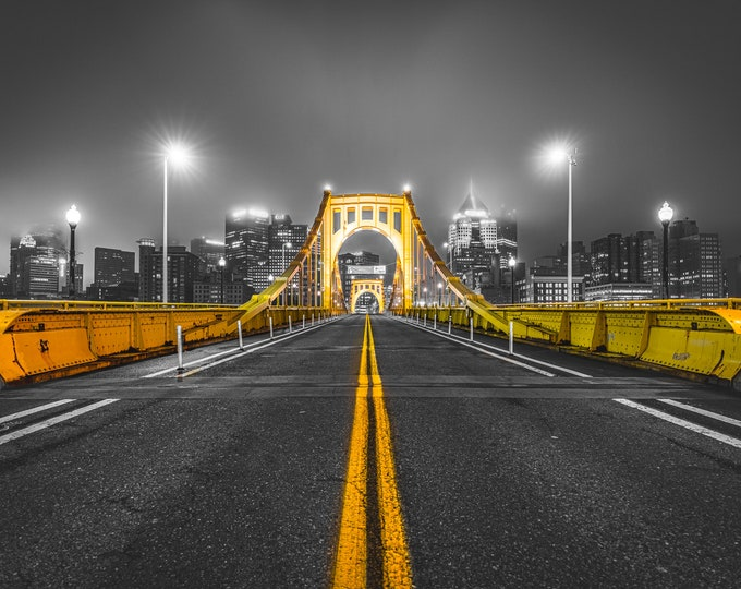 Clemente Bridge with a Foggy Pittsburgh Skyline