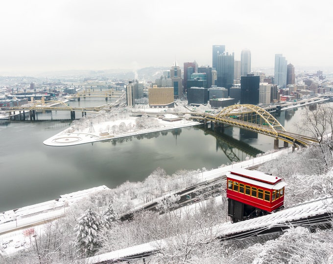 Pittsburgh Skyline Photo - Winter in Pittsburgh - Pittsburgh Art - Pittsburgh Picture