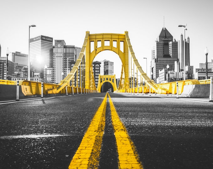 Pittsburgh Skyline Photo with Clemente Bridge in Selective Color