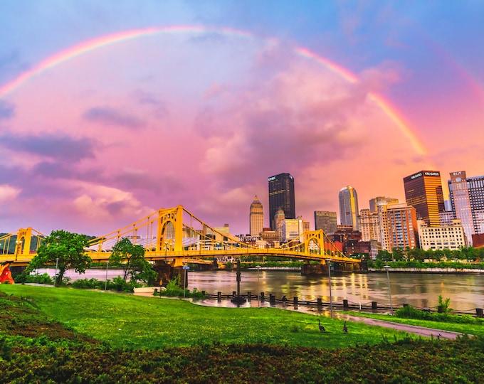 Pittsburgh Skyline Photo Print - Rainbow Over Pittsburgh