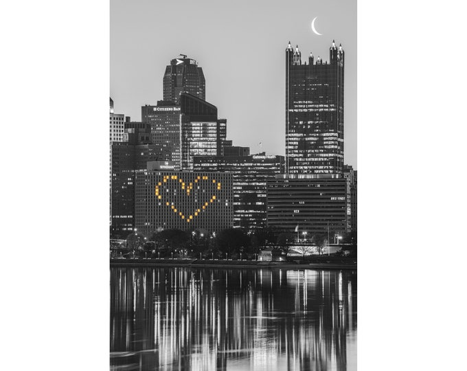 Pittsburgh Picture - Heart and Crescent Moon Black and White