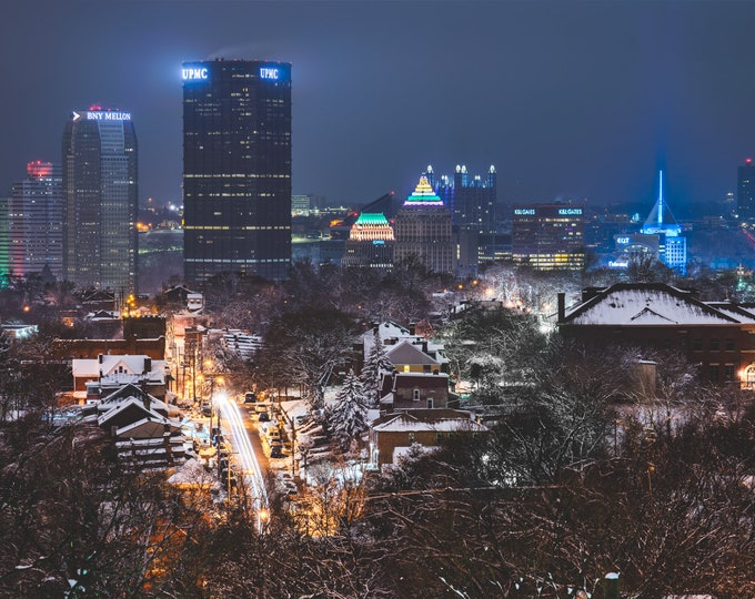 Pittsburgh Skyline Print - Winter in the Burgh - Pittsburgh Art - Pittsburgh Photos