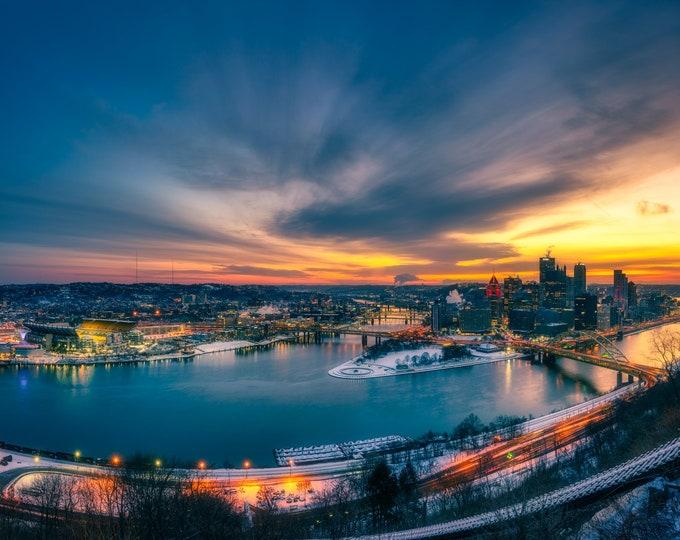 Pittsburgh Photo - Winter Sunrise Panorama - Pittsburgh Art - Pittsburgh Photo Prints - Metal Prints