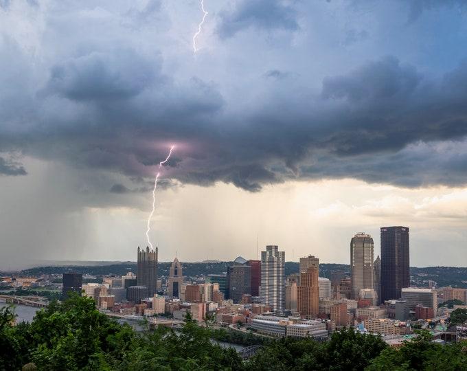 Pittsburgh Lightning Photo - Towering Lightning Strike Over Pittsburgh - Pittsburgh Photo Print - Pittsburgh Art