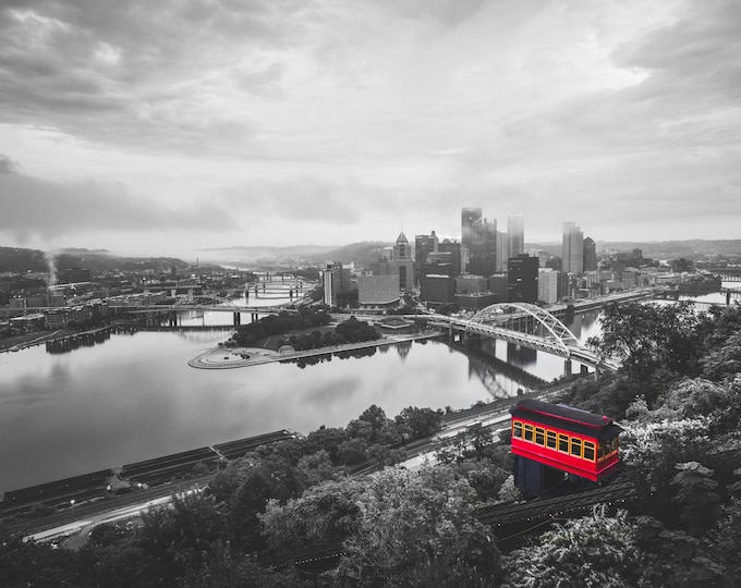 Pittsburgh Incline Photo - Selective Color Pittsburgh Photo Print - Pittsburgh Wall Art - Pittsburgh Skyline Picture
