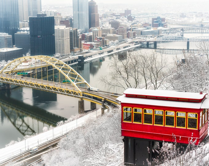 Pittsburgh Photos - Snowy Duquesne Incline - Pittsburgh Art - Pittsburgh Picture