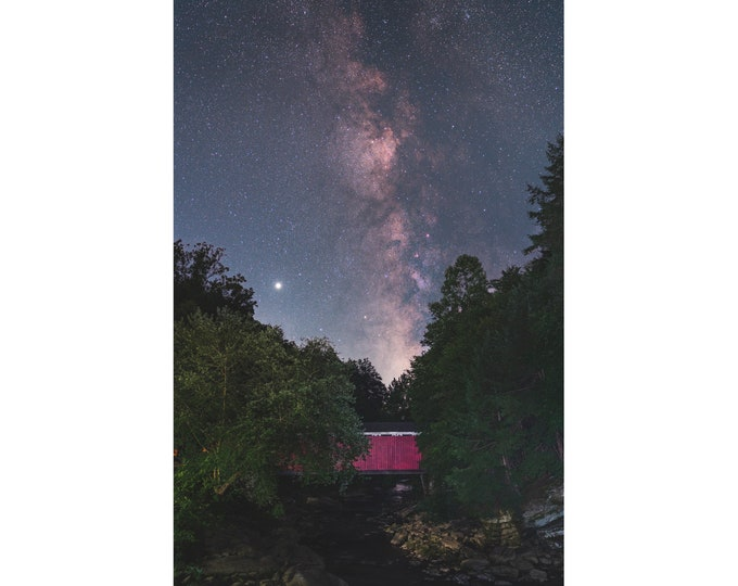 McConnells Mill Covered Bridge Photo with Milky Way - Photo Print - Wall Art