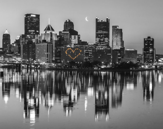 Pittsburgh Photo - Heart and Moon Black and White
